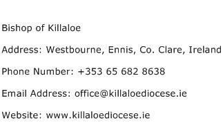Bishop of Killaloe Address Contact Number