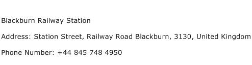 Blackburn Railway Station Address Contact Number
