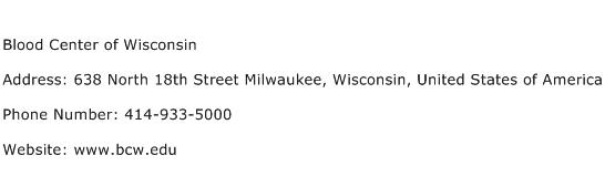 Blood Center of Wisconsin Address Contact Number