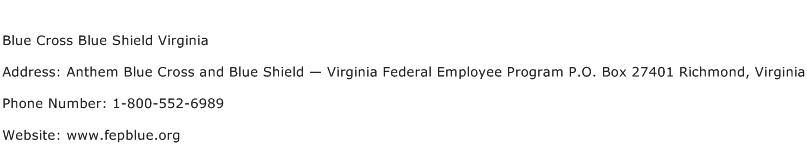 Blue Cross Blue Shield Virginia Address, Contact Number of ...