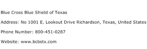 Blue Cross Blue Shield of Texas Address Contact Number