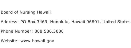 Board of Nursing Hawaii Address Contact Number