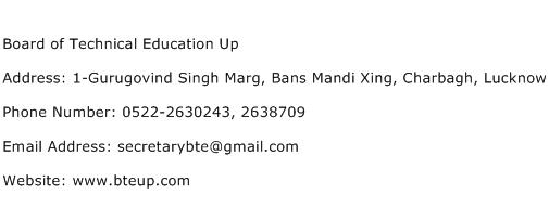 Board of Technical Education Up Address Contact Number