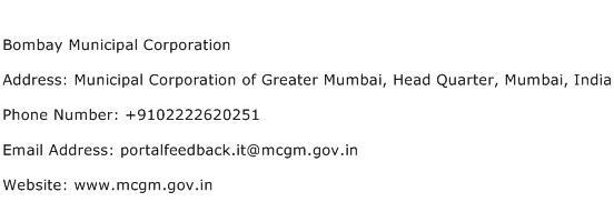 Bombay Municipal Corporation Address Contact Number