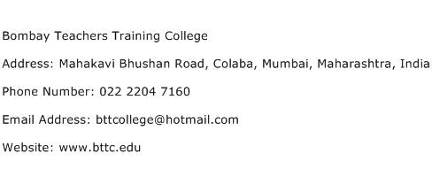 Bombay Teachers Training College Address Contact Number