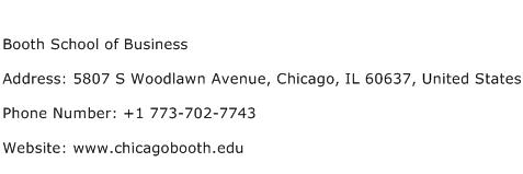 Booth School of Business Address Contact Number