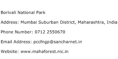 Borivali National Park Address Contact Number