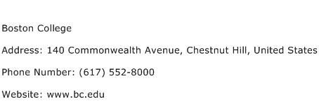 Boston College Address Contact Number
