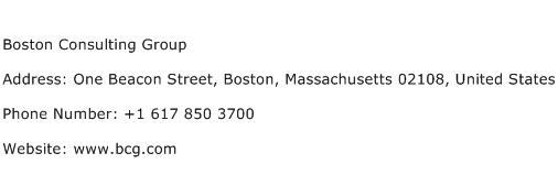 Boston Consulting Group Address Contact Number