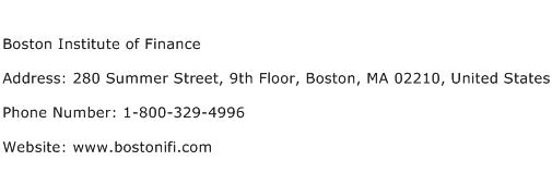 Boston Institute of Finance Address Contact Number