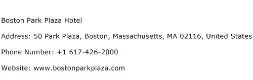 Boston Park Plaza Hotel Address Contact Number