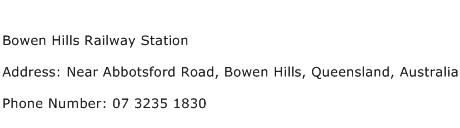 Bowen Hills Railway Station Address Contact Number