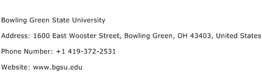 Bowling Green State University Address Contact Number