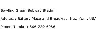 Bowling Green Subway Station Address Contact Number