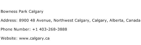 Bowness Park Calgary Address Contact Number