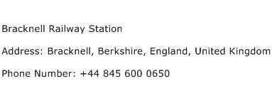 Bracknell Railway Station Address Contact Number