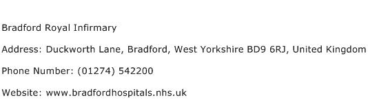 Bradford Royal Infirmary Address Contact Number