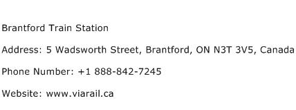 Brantford Train Station Address Contact Number