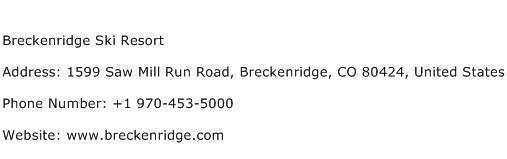 Breckenridge Ski Resort Address Contact Number