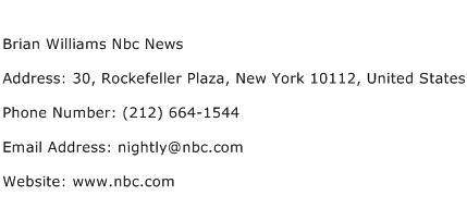 Brian Williams Nbc News Address Contact Number