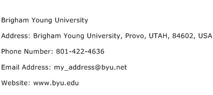Brigham Young University Address Contact Number