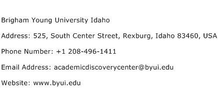Brigham Young University Idaho Address Contact Number
