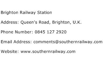 Brighton Railway Station Address Contact Number