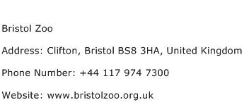 Bristol Zoo Address Contact Number