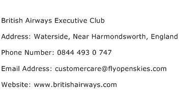 British Airways Executive Club Address Contact Number