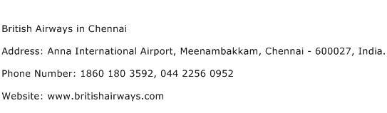 British Airways in Chennai Address Contact Number