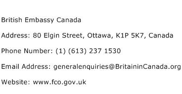 British Embassy Canada Address Contact Number