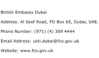 British Embassy Dubai Address Contact Number