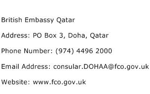 British Embassy Qatar Address Contact Number