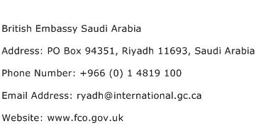 British Embassy Saudi Arabia Address Contact Number