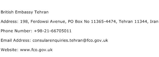 British Embassy Tehran Address Contact Number