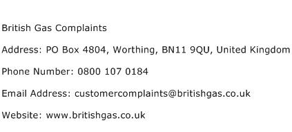 British Gas Complaints Address Contact Number