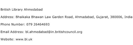 British Library Ahmedabad Address Contact Number