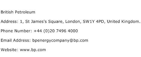 British Petroleum Address Contact Number