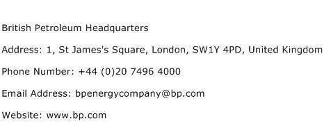 British Petroleum Headquarters Address Contact Number