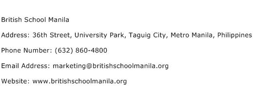 British School Manila Address Contact Number