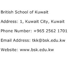 British School of Kuwait Address Contact Number