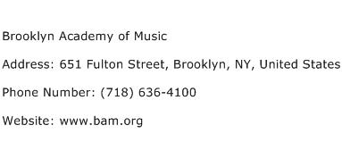 Brooklyn Academy of Music Address Contact Number