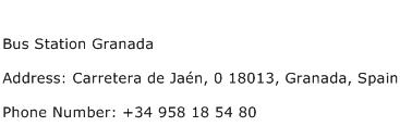 Bus Station Granada Address Contact Number