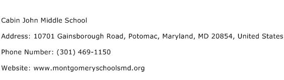 Cabin John Middle School Address Contact Number