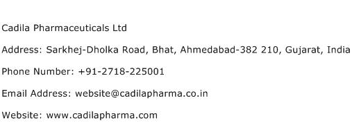 Cadila Pharmaceuticals Ltd Address Contact Number