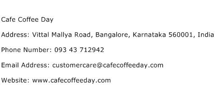 Cafe Coffee Day Address Contact Number