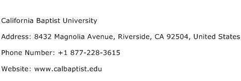 California Baptist University Address Contact Number