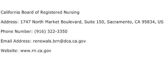 California Board of Registered Nursing Address Contact Number