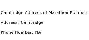 Cambridge Address of Marathon Bombers Address Contact Number