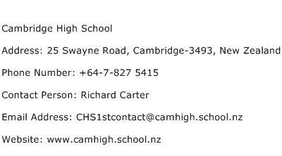 Cambridge High School Address Contact Number